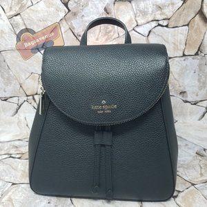 Black Medium Flap Backpack Black Leila Kate Spade Zipper Leather New With Tag